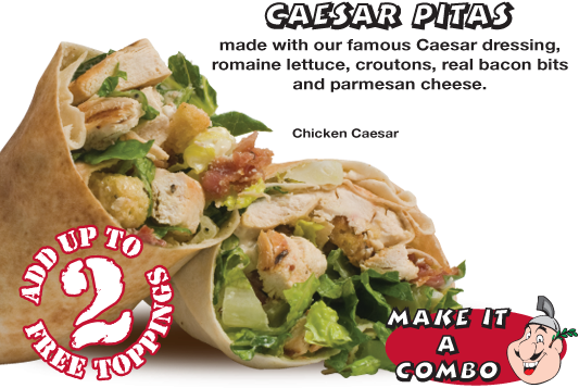 Caesar Pitas made with our famous Caesar dressing, romaine lettuce, croutons, real bacon bits and parmesan cheese.